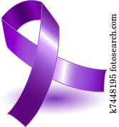Purple awareness ribbon and shadow