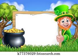 St Patricks Day Leprechaun Sign Cartoon Scene