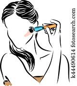 woman applying make up illustration