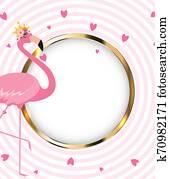 Beautiful Little Princess Pink Flamingo in Golden Crown. Illustration