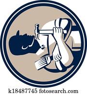 Carpenter Painter Holding Hammer Brush Retro Style