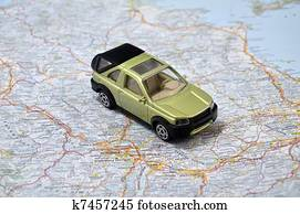 Stock Photo Of Concept Small Jeep With Trailer Toy Car On Italy Map