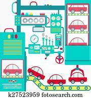 clipart convoyeur automobile fabrication syst me isom trique affiche k40507282. Black Bedroom Furniture Sets. Home Design Ideas