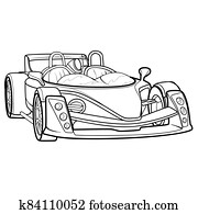 sketch car, coloring book, isolated object on white background, vector illustration,