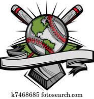 global, baseball, vektor, bild, templa