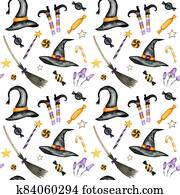 Happy Halloween seamless pattern with wich hat, broom, Magic wand, candy sweets party decorations. Watercolor Cartoon background illustration. Halloween spooky cemetery scrapbook paper.