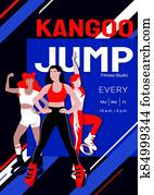 Kangoo jump high intensity interval training class advertisement poster template. Females in sport outfit and bounce shoes doing knee up jump, jumping jack exercises. Cardio fitness and weight loss.