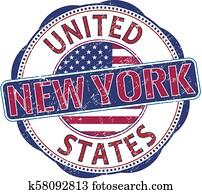 new york usa grunge stamp illustration