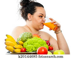 Positive Overweight Girl On Diet Scale Stock Image