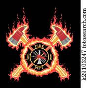 Firefighter Cross With Axes and Fla