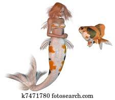Archivio illustrazioni carpa koi nuoto gi k6903449 for Carpa pesce rosso