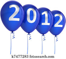 New Year 2012 Xmas blue balloons