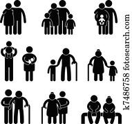 glückliche familie, symbol, zeichen, symbol