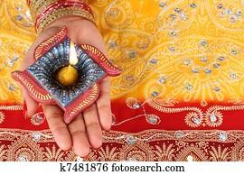 Handmade Diwali Diya Lamp in Hand