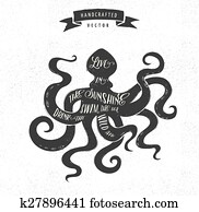 inspiration, notieren, hüfthose, altmodisch, design, etikett, -, oktopus