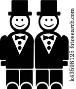 Smiling grooms - gay wedding couple