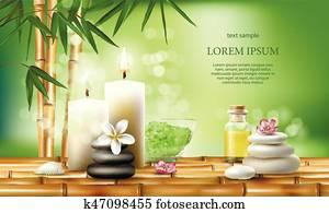 vecteur, illustration, pour, spa, traitements, à, aromatique, sel, ,, masage, oil,, candles.