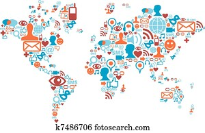 World map shape made with social media icons