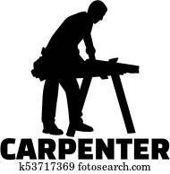 Carpenter silhouette with job title