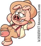 Farmer pig resting