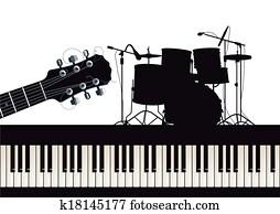 guitar,, klavier, und, trommeln