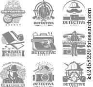 Private Investigator Labels Set