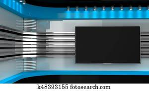 Tv Studio. Red studio. Backdrop for TV shows .TV on wall. News studio. The perfect backdrop for any green screen or chroma key video or photo production. 3D rendering.