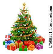 üppig, weihnachtsbaum, mit, buntes, g