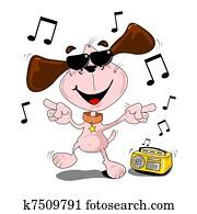 cartoon dog dancing