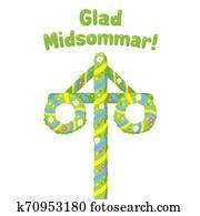 Glad Midsommar Midsummer Maypole