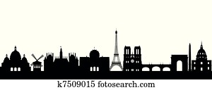 Silhouette Paris abstract