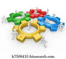 Team of People Push Gears Together Teamwork Success
