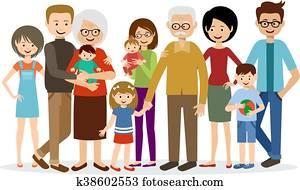 Happy Large Family Clip Art K14431259 Fotosearch