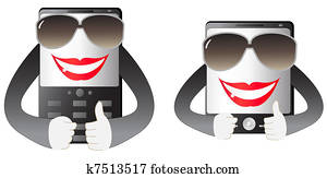 two cute smiling mobile phone