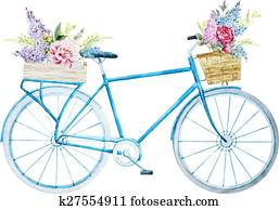 Watercolor bike bicycle