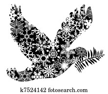 Christmas Peace Dove Silhouette