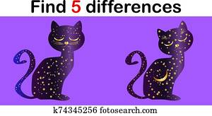 Find differences, education game for children, Cat