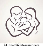happy family stylized vector symbol, young parents and baby