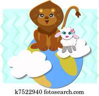 Lion Lamb Clipart Eps Images 163 Lion Lamb Clip Art Vector
