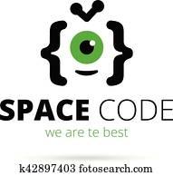 Web development studio logo. Alien mascot coding vector logotype
