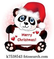 Christmas Panda with heart banner