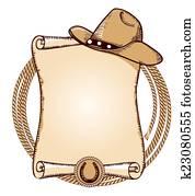 Cowboy hat and lasso. Vector American illustration