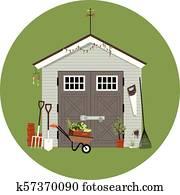 Gardening shack illustration
