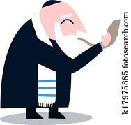 Rabbi With Talit Blows The Shofar