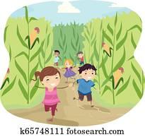 Stickman, kinder, maislabyrinth, laufen, abbildung