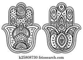 vektor, indische, hand, gezeichnet, hamsa, mit, verzierungen