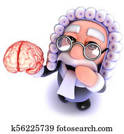 3d Funny cartoon judge character holding a human brain