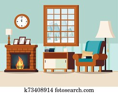 Cozy home living room interior background with fireplace
