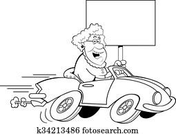 karikatur, alte dame, fahren, a, sport, c