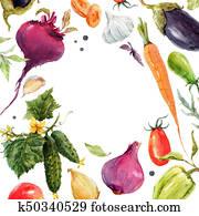 Watercolor vegetable frame